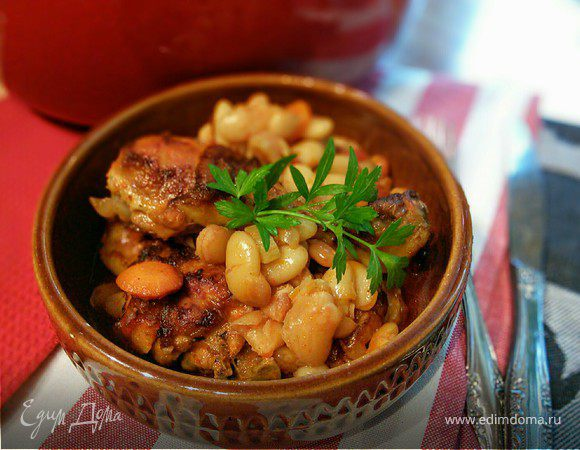 кугель из курицы с фасолью