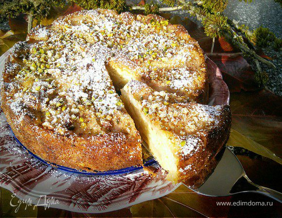 Цитрусовый пирог с грушей