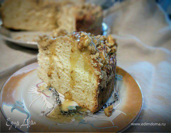 Сдобный пирог с ванильным пудингом и штрейзелем