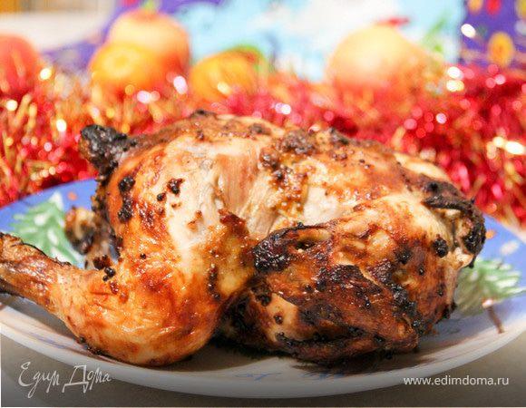 Цыпленок, фаршированный рисом и яблоками
