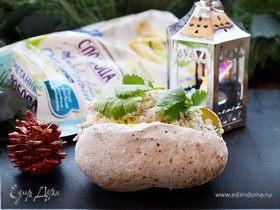 Печеный картофель с креветочным салатом