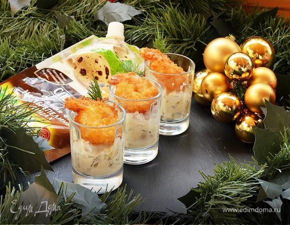 Хрустящие креветки с сырным соусом