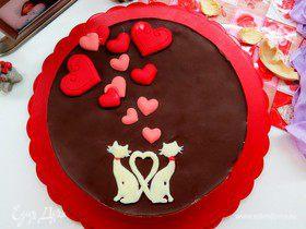 Торт «Птичье молоко» с малиновым сердцем