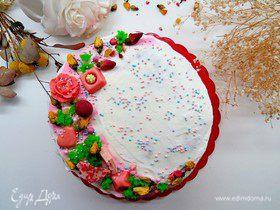 Торт-рулет «Цветы для любимой» с черносмородиновым курдом