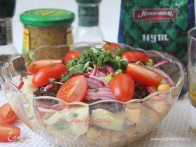 Салат с нутом, артишоками и помидорами