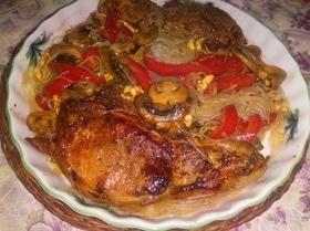 Рисовая лапша с мясом и овощами