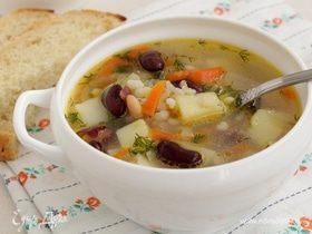 Суп с перловой крупой и фасолью
