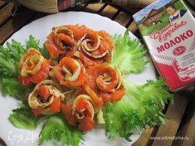 Букет из блинных роз с лососем