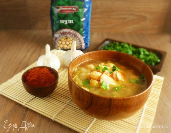 Суп с запеченной рыбой и нутом