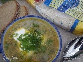 Суп с рисом, щавелем и фрикадельками
