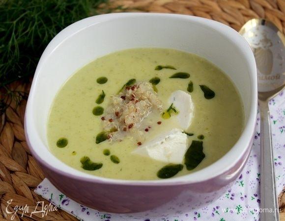 Крем-суп из цукини с рикоттой, киноа и укропом