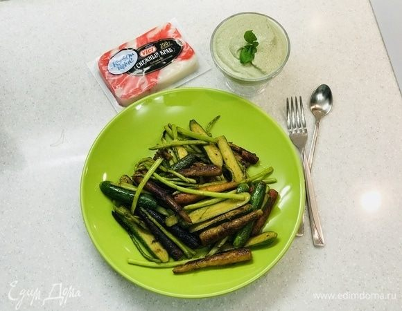 Овощи-вок с крабовым соусом