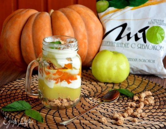 Тыквенно-яблочный трайфл с отрубями