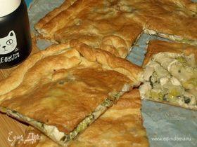 Пирог с курицей и луком-пореем