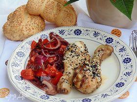 Курица с томатным салатом