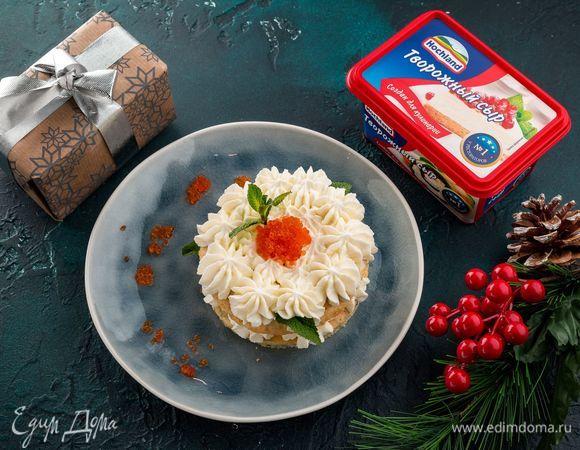 Пирожные с творожным сыром, зеленью и красной икрой