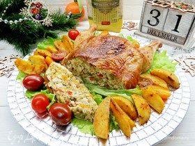 Курица, фаршированная блинами с овощами, рисом и фетой