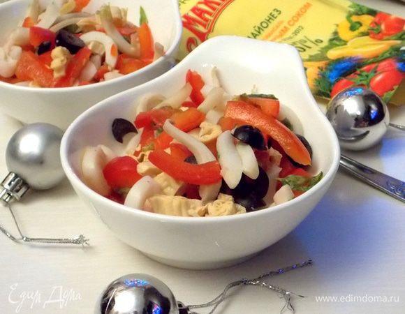 Салат с кальмарами и перцем