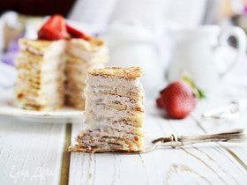 Блинный торт с творожным сыром и сгущенкой