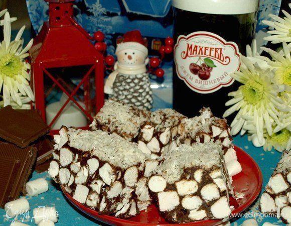 Маршмеллоу с шоколадом и вишневым джемом