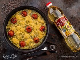 Сырная запеканка с помидорами черри