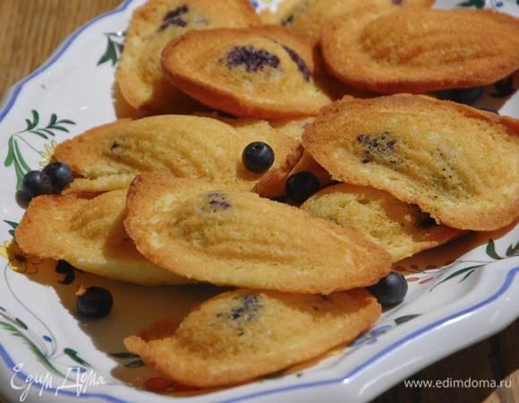Лимонное печенье «Мадлен» с голубикой