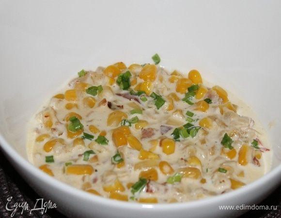 Кукуруза в сливочном соусе с хрустящим беконом и халапеньо