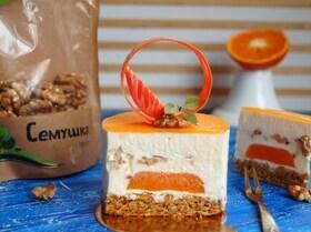 Муссовое пирожное с морковью, мандаринами и грецкими орехами