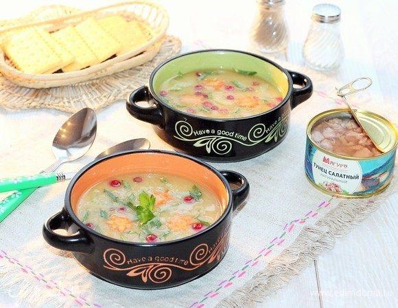 Овощной суп с тунцом и клюквой