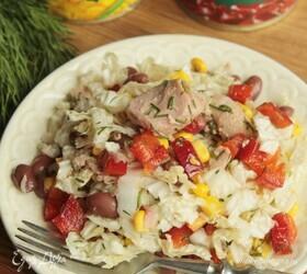 Салат с тунцом, кукурузой и фасолью