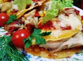 Мексиканские тако с овощами и курицей