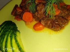 Тушенное в вине мясо с овощами