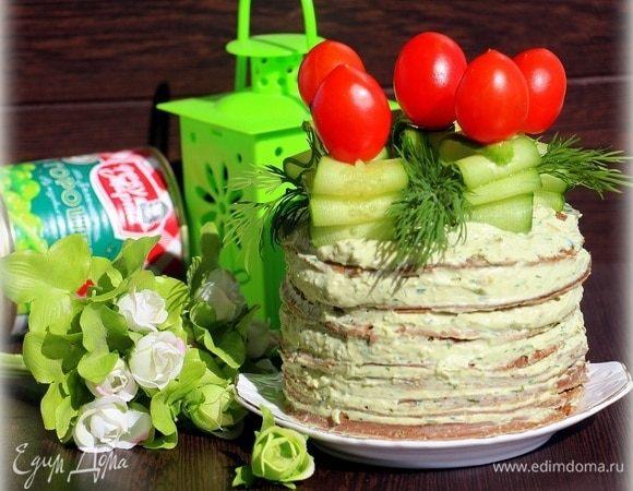 Печеночный торт с нежным гороховым паштетом
