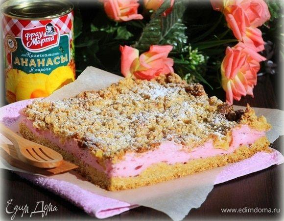 Песочный пирог «Ананасы на розовых облаках»