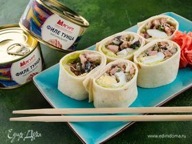 Роллы с салатом из тунца