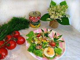 Салат «Весеннее настроение» с тунцом и кукурузой