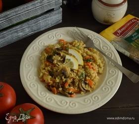 Плов из бурого риса с грибами