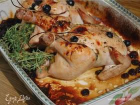Цыплята с яблоками, изюмом и хересом