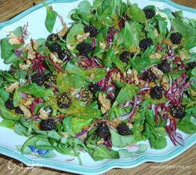 Салат из красной капусты с ежевикой и горчичной заправкой