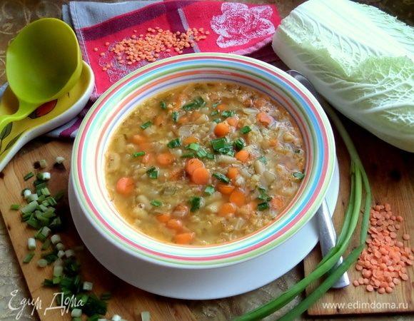 Суп с чечевицей и фасолью
