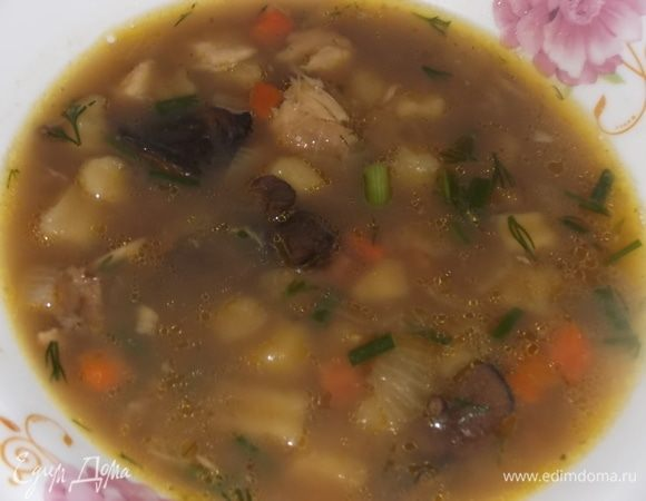 Суп гороховый с сушеными грибами