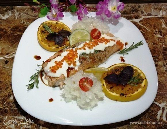 Филе семги под сливочным соусом