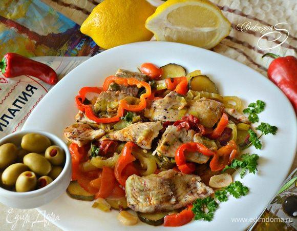 Саламис (филе белой рыбы с овощами)