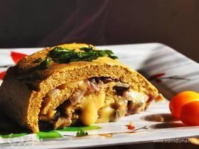 Kартофельно-ржаной рулет с грибами и сыром