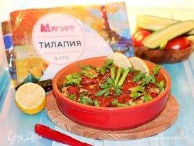 Запеченная маринованная рыба с овощами