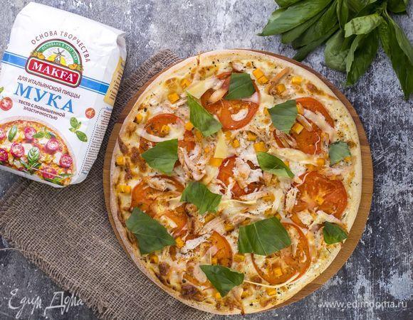 Пицца с тыквой и копченой курицей