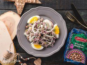 Салат с фасолью и огурцом