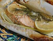 Семга с фенхелем и цукини, запеченная в конверте