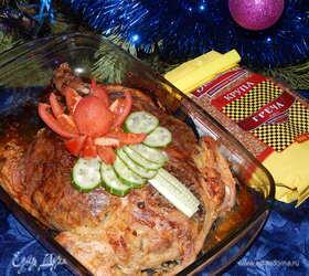 Курица, фаршированная гречкой с овощами и айвой