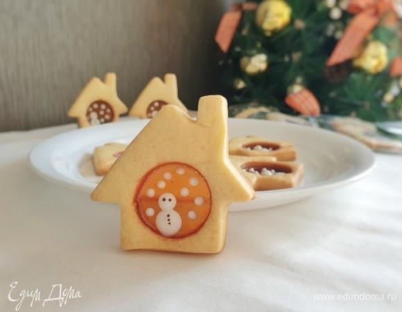 Стеклянное печенье «Снеговик в домике»